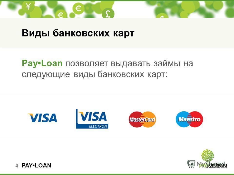 PAYLOAN PayLoan позволяет выдавать займы на следующие виды банковских карт: Виды банковских карт 4
