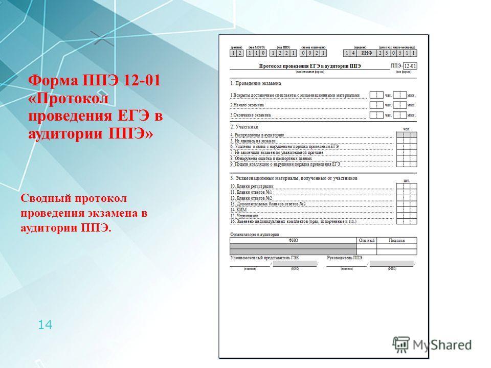 14 Форма ППЭ 12-01 «Протокол проведения ЕГЭ в аудитории ППЭ» Сводный протокол проведения экзамена в аудитории ППЭ.
