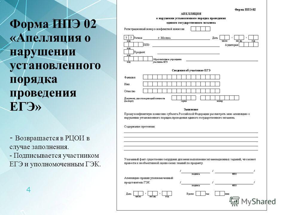 4 Форма ППЭ 02 «Апелляция о нарушении установленного порядка проведения ЕГЭ» - Возвращается в РЦОИ в случае заполнения. - Подписывается участником ЕГЭ и уполномоченным ГЭК.