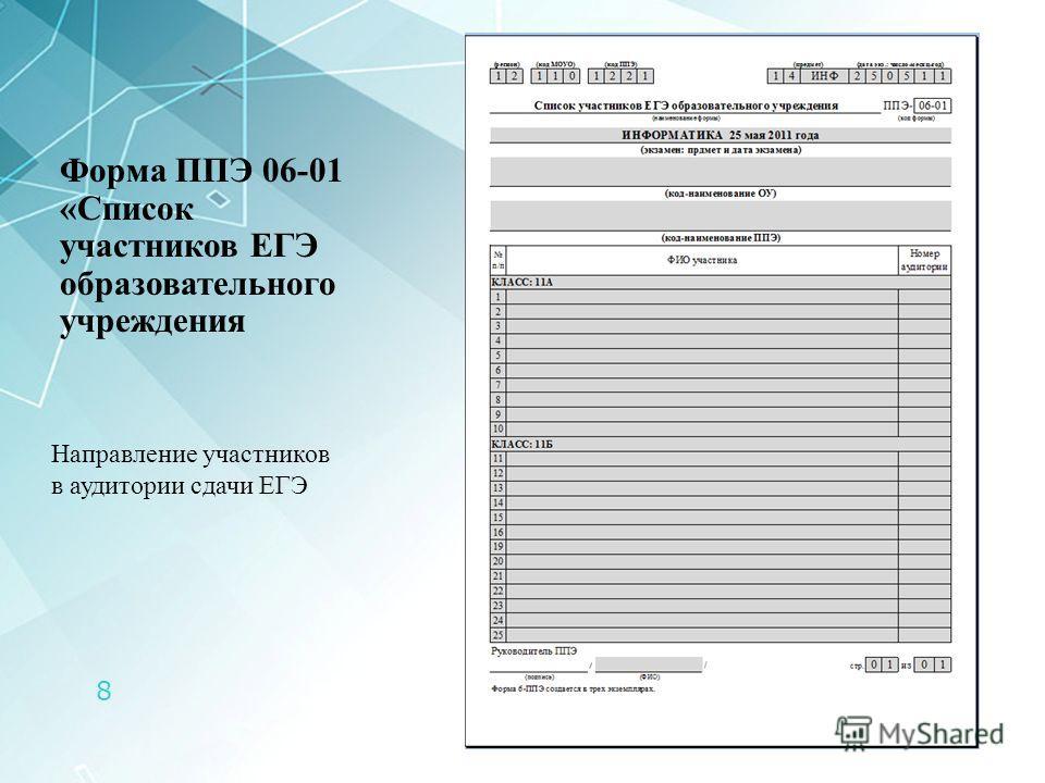 8 Форма ППЭ 06-01 «Список участников ЕГЭ образовательного учреждения Направление участников в аудитории сдачи ЕГЭ
