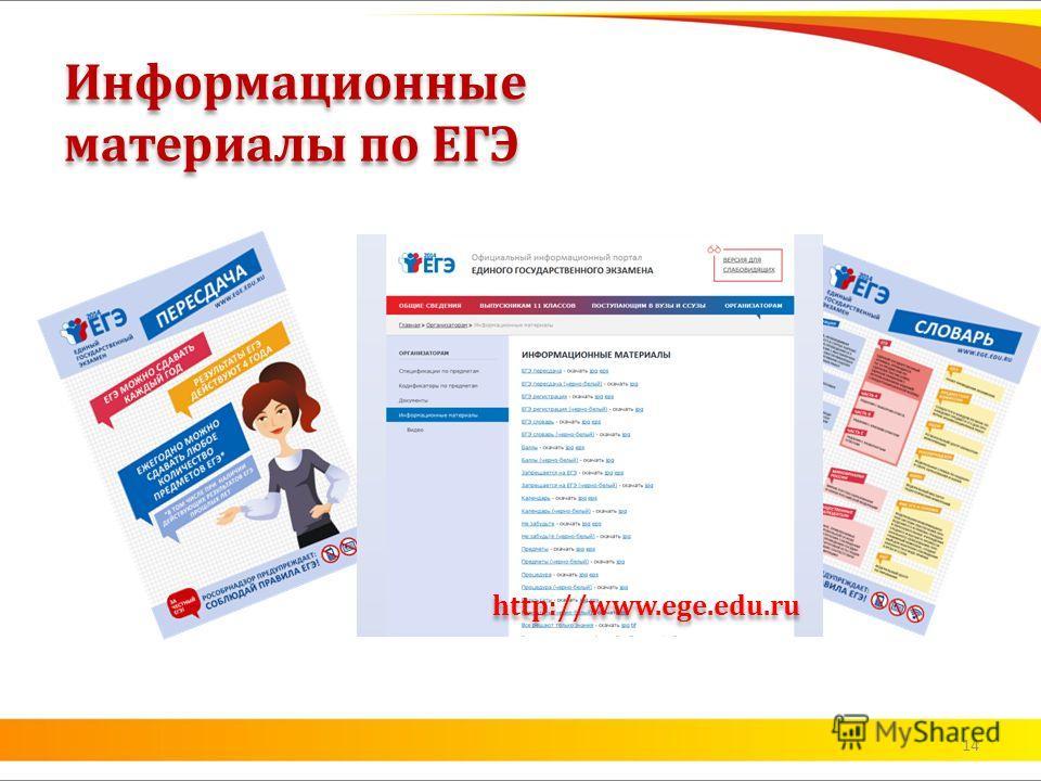 Информационные материалы по ЕГЭ http://www.ege.edu.ru 14