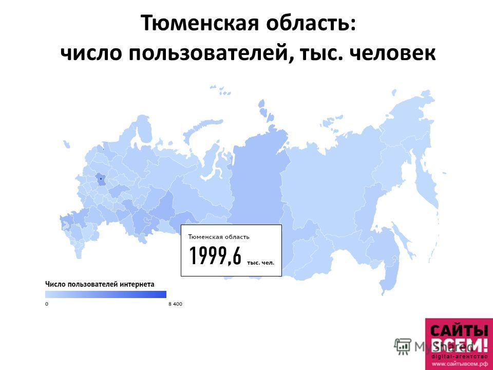 Тюменская область: число пользователей, тыс. человек