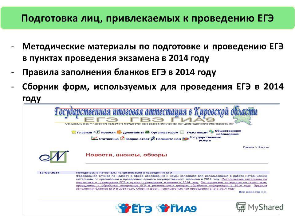 19 Подготовка лиц, привлекаемых к проведению ЕГЭ -Методические материалы по подготовке и проведению ЕГЭ в пунктах проведения экзамена в 2014 году -Правила заполнения бланков ЕГЭ в 2014 году -Сборник форм, используемых для проведения ЕГЭ в 2014 году