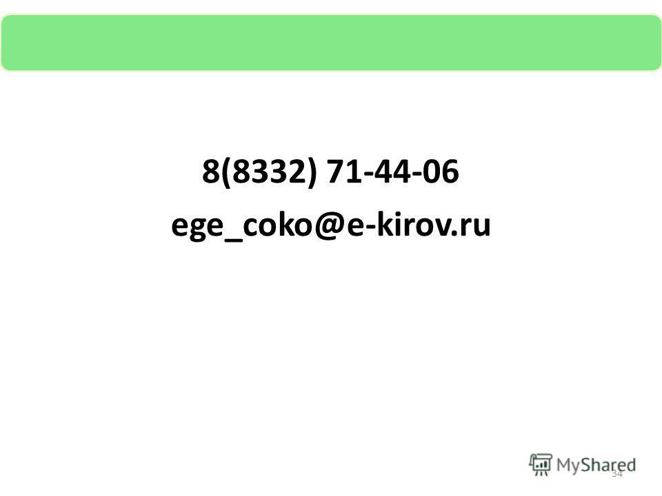 8(8332) 71-44-06 ege_coko@e-kirov.ru 34