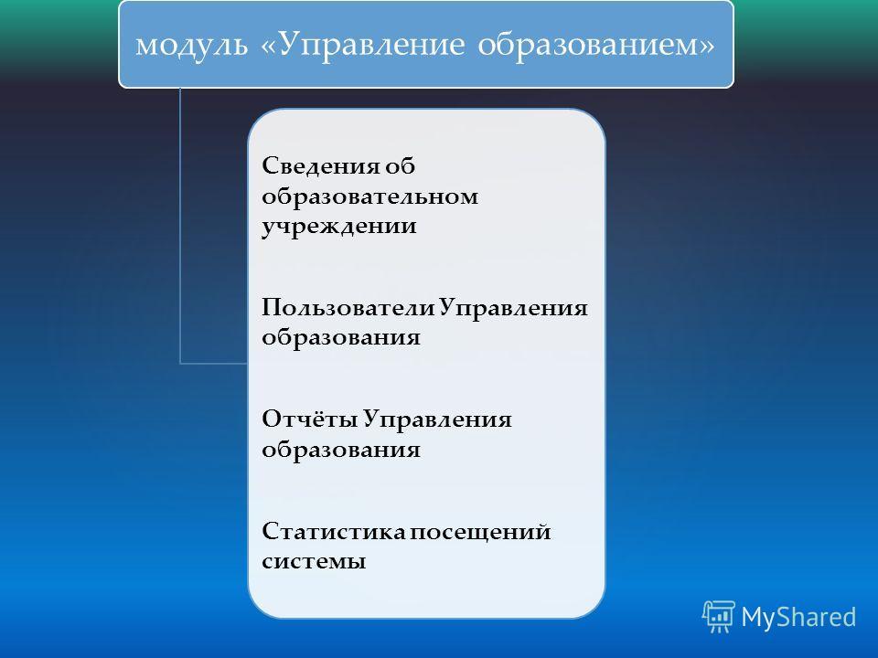 модуль «Управление образованием» Cведения об образовательном учреждении Пользователи Управления образования Отчёты Управления образования Статистика посещений системы