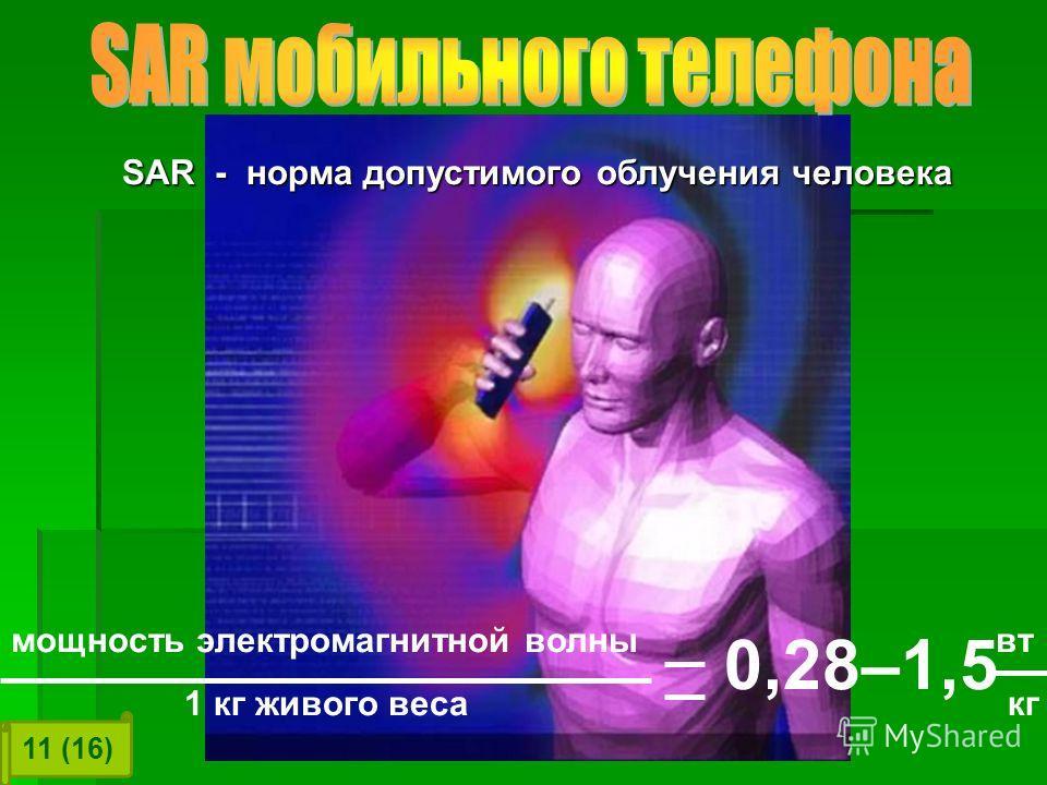 SAR - норма допустимого облучения человека мощность электромагнитной волны вт 0,28–1,5 1 кг живого веса кг 11 (16)