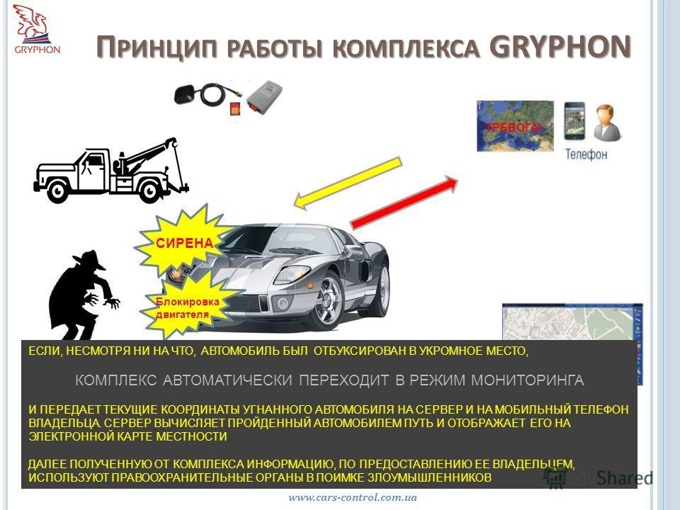 П РИНЦИП РАБОТЫ КОМПЛЕКСА GRYPHON www.cars-control.com.ua Интернет портал www.cars-control.com.ua ТРЕВОГА! СИРЕНА Блокировка двигателя ЕСЛИ, НЕСМОТРЯ НИ НА ЧТО, АВТОМОБИЛЬ БЫЛ ОТБУКСИРОВАН В УКРОМНОЕ МЕСТО, КОМПЛЕКС АВТОМАТИЧЕСКИ ПЕРЕХОДИТ В РЕЖИМ МО