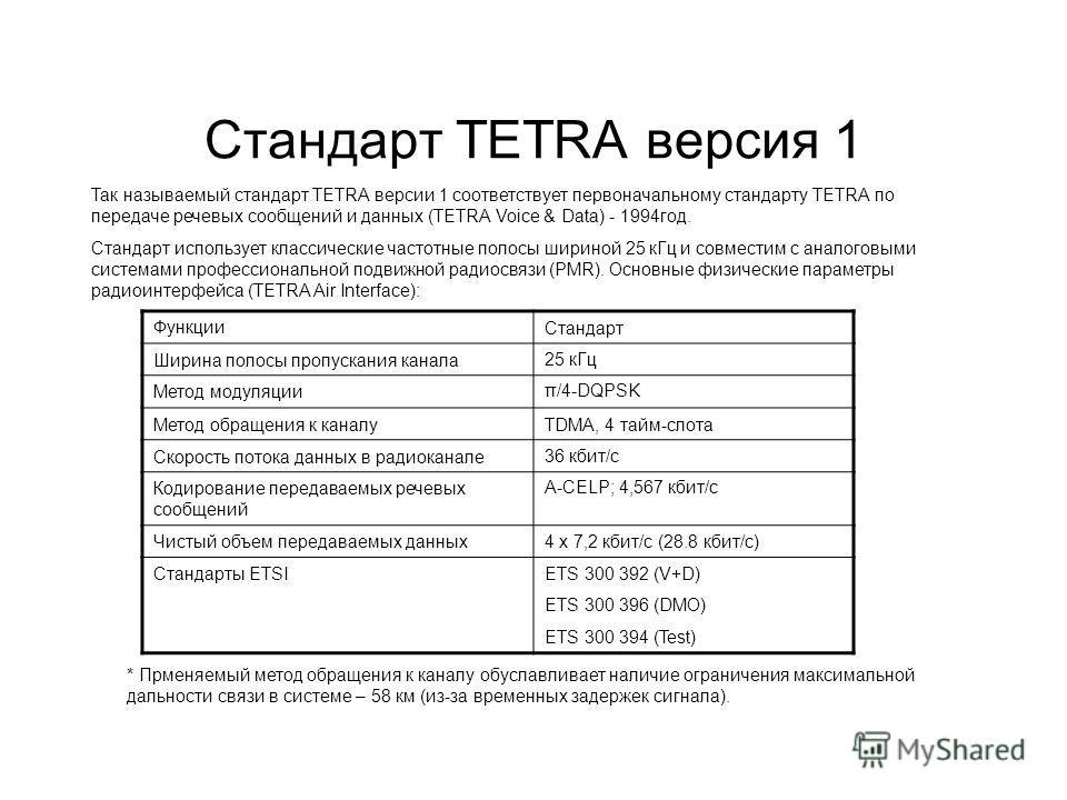 Стандарт TETRA версия 1 Так называемый стандарт TETRA версии 1 соответствует первоначальному стандарту TETRA по передаче речевых сообщений и данных (TETRA Voice & Data) - 1994 год. Стандарт использует классические частотные полосы шириной 25 к Гц и с