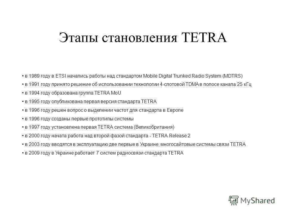Этапы становления TETRA в 1989 году в ETSI начались работы над стандартом Mobile Digital Trunked Radio System (MDTRS) в 1991 году принято решение об использовании технологии 4-слотовой TDMA в полосе канала 25 к Гц в 1994 году образована группа TETRA