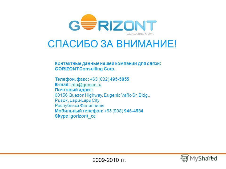11 СПАСИБО ЗА ВНИМАНИЕ! 2009-2010 гг. Контактные данные нашей компании для связи: GORIZONT Consulting Corp. Телефон, факс: +63 (032) 495-5855 E-mail: info@gorcon.ruinfo@gorcon.ru Почтовый адрес: 60156 Quezon Highway, Eugenio Vaño Sr. Bldg., Pusok, La