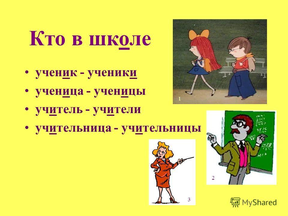Кто в школе ученик - ученики ученица - ученицы учитель - учители учительница - учительницы 1 2 3
