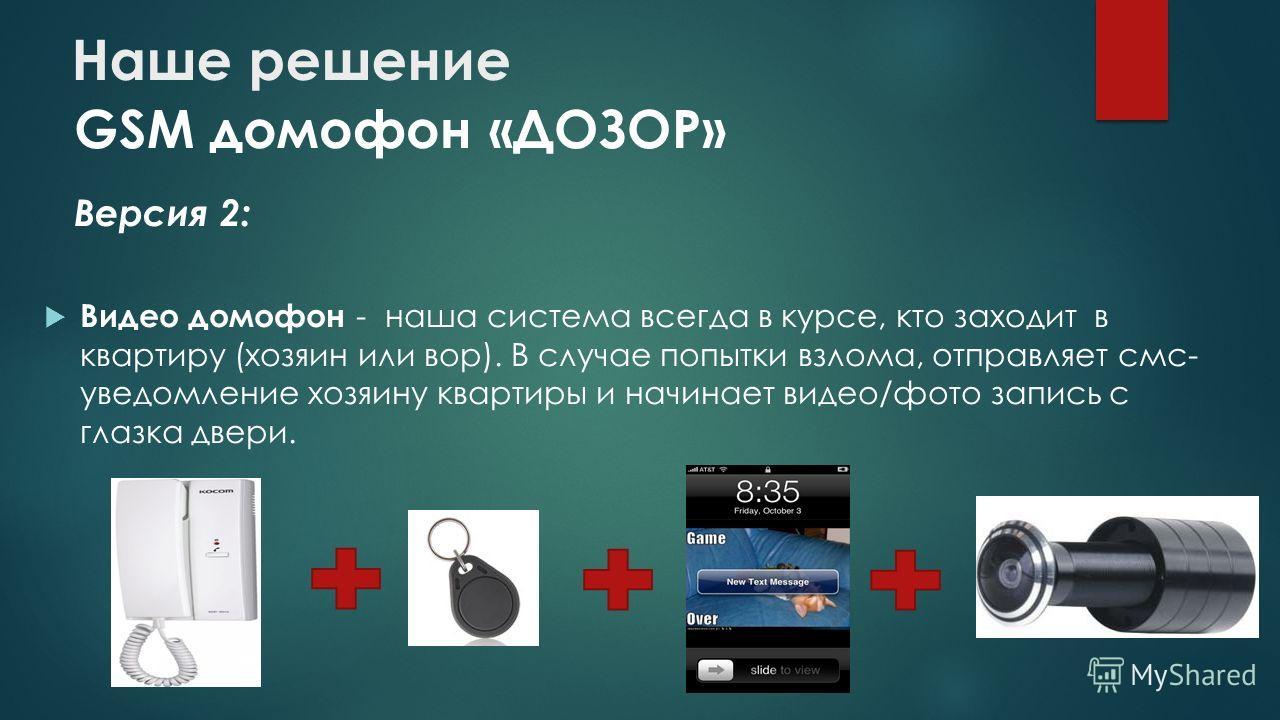 Наше решение GSM домофон «ДОЗОР» Версия 2: Видео домофон - наша система всегда в курсе, кто заходит в квартиру (хозяин или вор). В случае попытки взлома, отправляет смс- уведомление хозяину квартиры и начинает видео/фото запись с глазка двери.