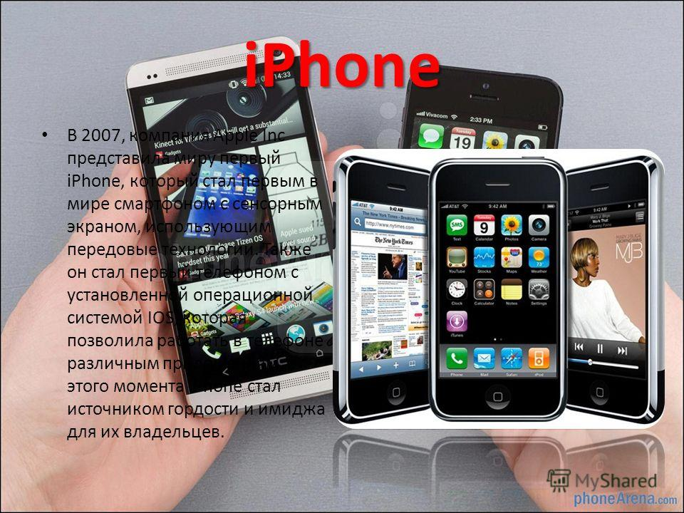 iPhone В 2007, компания Apple Inc представила миру первый iPhone, который стал первым в мире смартфоном с сенсорным экраном, использующим передовые технологии. Также он стал первый телефоном с установленной операционной системой IOS, которая позволил