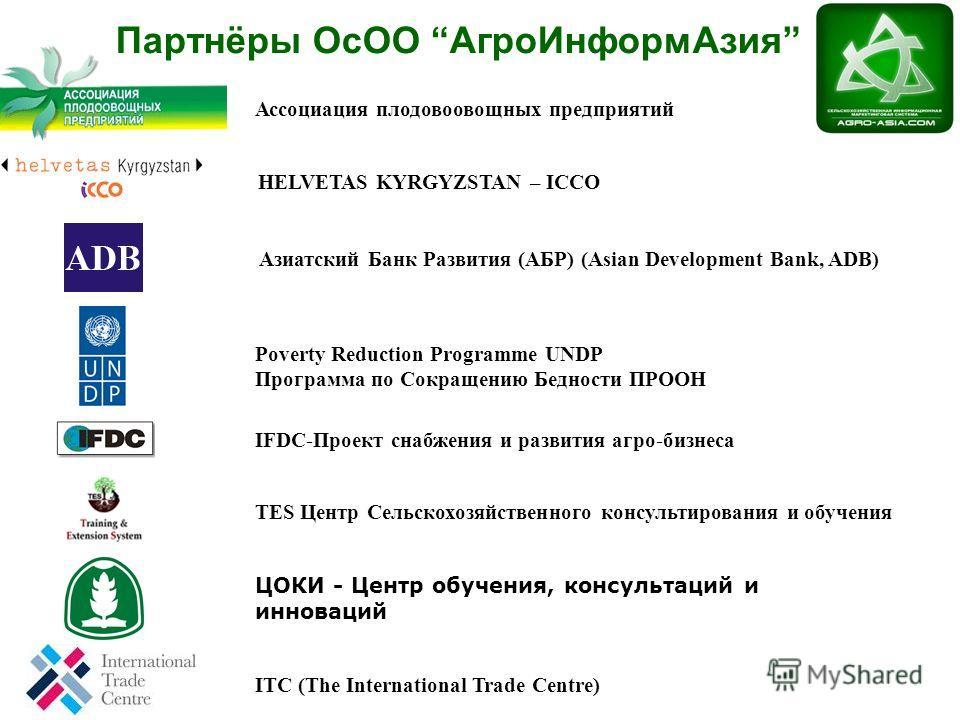 Ассоциация Плодоовощных Предприятий HELVETAS KYRGYZSTAN – ICCO Азиатский Банк Развития (АБР) (Asian Development Bank, ADB) Poverty Reduction Programme UNDP Программа по Сокращению Бедности ПРООН IFDC-Проект снабжения и развития агро-бизнеса TES Центр