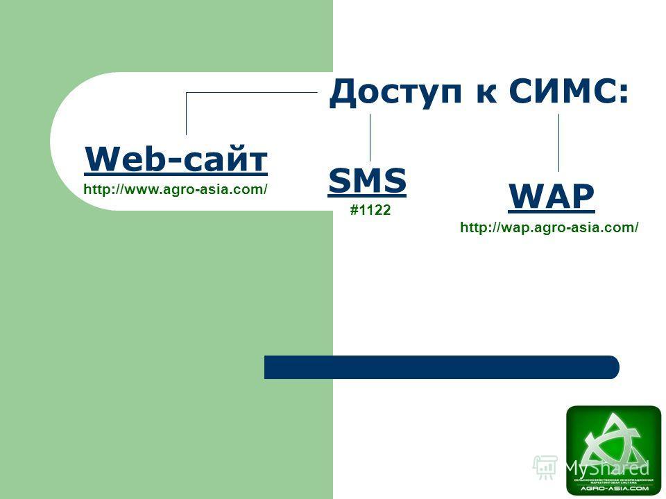 Web-сайт SMS WAP Доступ к СИМС: http://www.agro-asia.com/ #1122 http://wap.agro-asia.com/