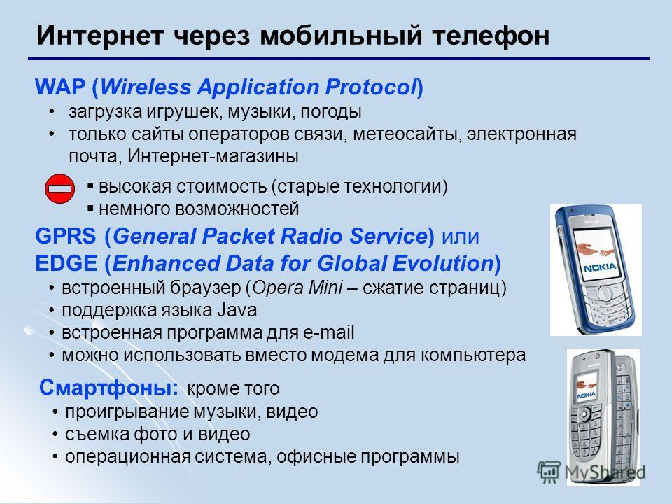 12 Интернет через мобильный телефон WAP (Wireless Application Protocol) загрузка игрушек, музыки, погоды только сайты операторов связи, метеосайты, электронная почта, Интернет-магазины высокая стоимость (старые технологии) немного возможностей GPRS (