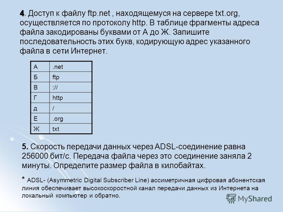 4 4. Доступ к файлу ftp.net, находящемуся на сервере txt.org, осуществляется по протоколу http. В таблице фрагменты адреса файла закодированы буквами от А до Ж. Запишите последовательность этих букв, кодирующую адрес указанного файла в сети Интернет.