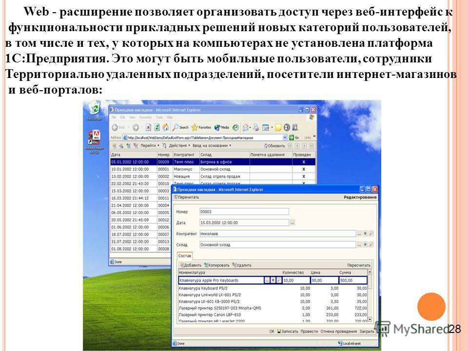 Web - расширение позволяет организовать доступ через веб-интерфейс к функциональности прикладных решений новых категорий пользователей, в том числе и тех, у которых на компьютерах не установлена платформа 1С:Предприятия. Это могут быть мобильные поль
