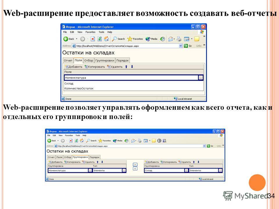 Web-расширение предоставляет возможность создавать веб-отчеты Web-расширение позволяет управлять оформлением как всего отчета, как и отдельных его группировок и полей: 34