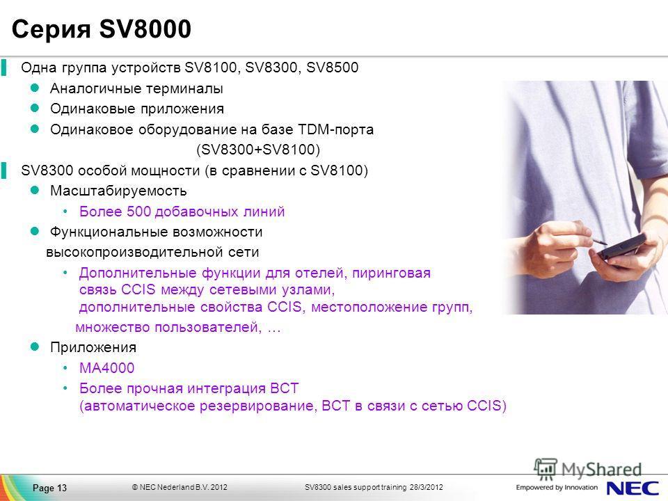 SV8300 sales support training 28/3/2012© NEC Nederland B.V. 2012 Page 13 Серия SV8000 Одна группа устройств SV8100, SV8300, SV8500 Аналогичные терминалы Одинаковые приложения Одинаковое оборудование на базе TDM-порта (SV8300+SV8100) SV8300 особой мощ