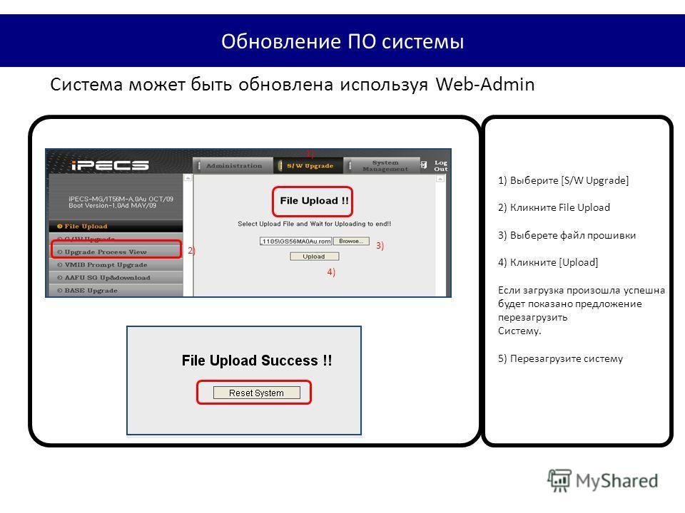 Система может быть обновлена используя Web-Admin 1) 2) 3) 4) 1) Выберите [S/W Upgrade] 2) Кликните File Upload 3) Выберете файл прошивки 4) Кликните [Upload] Если загрузка произошла успешна будет показано предложение перезагрузить Систему. 5) Перезаг