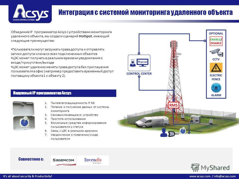 25 www.acsys.com / info@acsys.comIts all about security & Productivity! Объединив IP программатор Acsys с устройствами мониторинга удаленного объекта, мы создали сценарий HotSpot, имеющий следующие преимущества: Пользователи могут загружать права дос