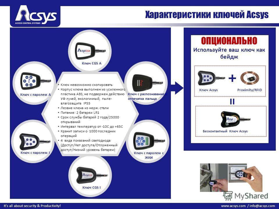 28 www.acsys.com / info@acsys.comIts all about security & Productivity! Характеристики ключей Acsys Kлюч невозможно скопировать Корпус ключа выполнен из усиленного пластика ABS, не подвержен действию УФ лучей, экологичный, пыле- влагозащита IP55 Лезв