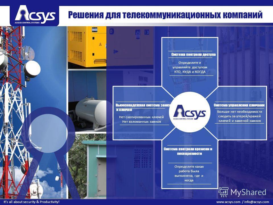 33 www.acsys.com / info@acsys.comIts all about security & Productivity! Решения для телекоммуникационных компаний Определите какая работа была выполнена, где и когда Определите и управляйте доступом КТО, КУДА и КОГДА Нет скопированных ключей Нет взло
