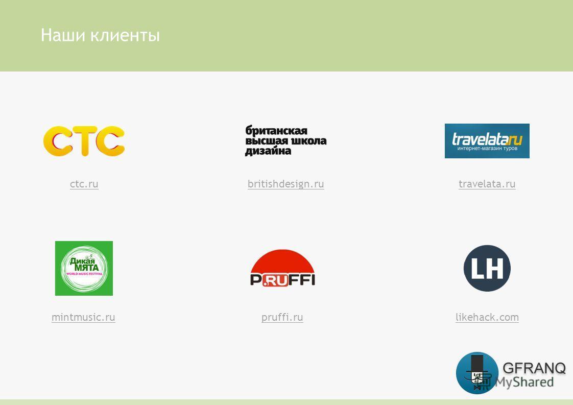 Наши клиенты pruffi.rumintmusic.rulikehack.com travelata.rubritishdesign.ructc.ru