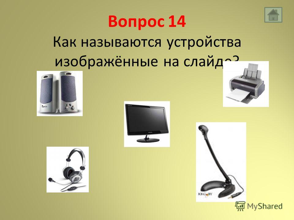 Вопрос 14 Как называются устройства изображённые на слайде?