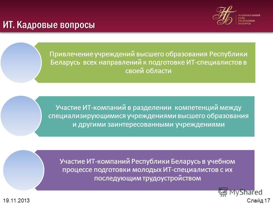 ИТ. Кадровые вопросы Привлечение учреждений высшего образования Республики Беларусь всех направлений к подготовке ИТ-специалистов в своей области Участие ИТ-компаний в разделении компетенций между специализирующимися учреждениями высшего образования