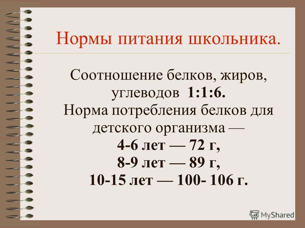 Нормы питания школьника. Соотношение белков, жиров, углеводов 1:1:6. Норма потребления белков для детского организма 4-6 лет 72 г, 8-9 лет 89 г, 10-15 лет 100- 106 г.