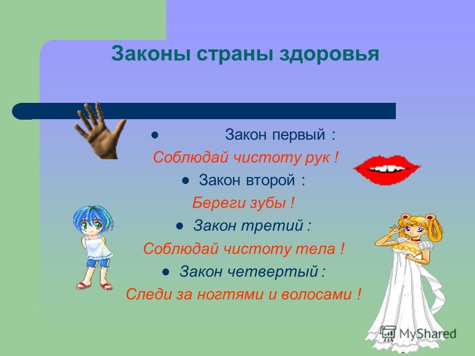 Законы страны здоровья Закон первый : Соблюдай чистоту рук ! Закон второй : Береги зубы ! Закон третий : Соблюдай чистоту тела ! Закон четвертый : Следи за ногтями и волосами !