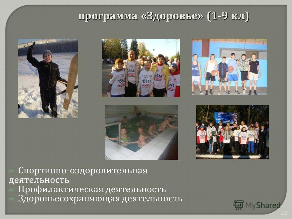 Спортивно - оздоровительная деятельность Профилактическая деятельность Здоровьесохраняющая деятельность программа « Здоровье » (1-9 кл ) 22