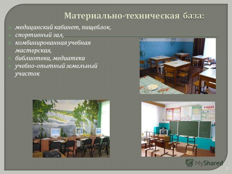 медицинский кабинет, пищеблок, спортивный зал, комбинированная учебная мастерская, библиотека, медиатека учебно - опытный земельный участок 7