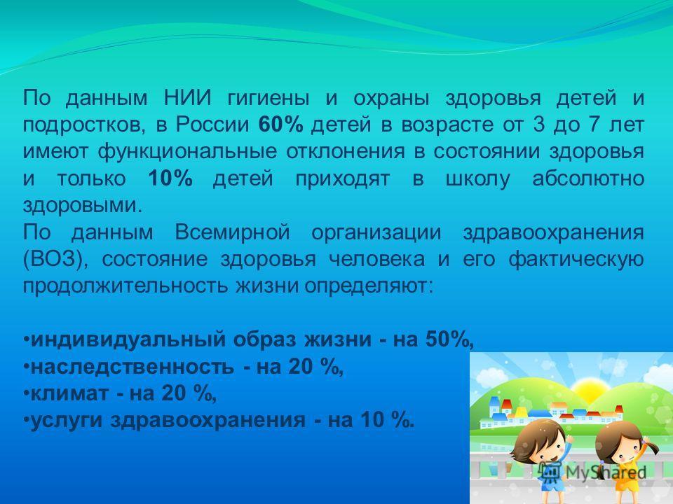 По данным НИИ гигиены и охраны здоровья детей и подростков, в России 60% детей в возрасте от 3 до 7 лет имеют функциональные отклонения в состоянии здоровья и только 10% детей приходят в школу абсолютно здоровыми. По данным Всемирной организации здра