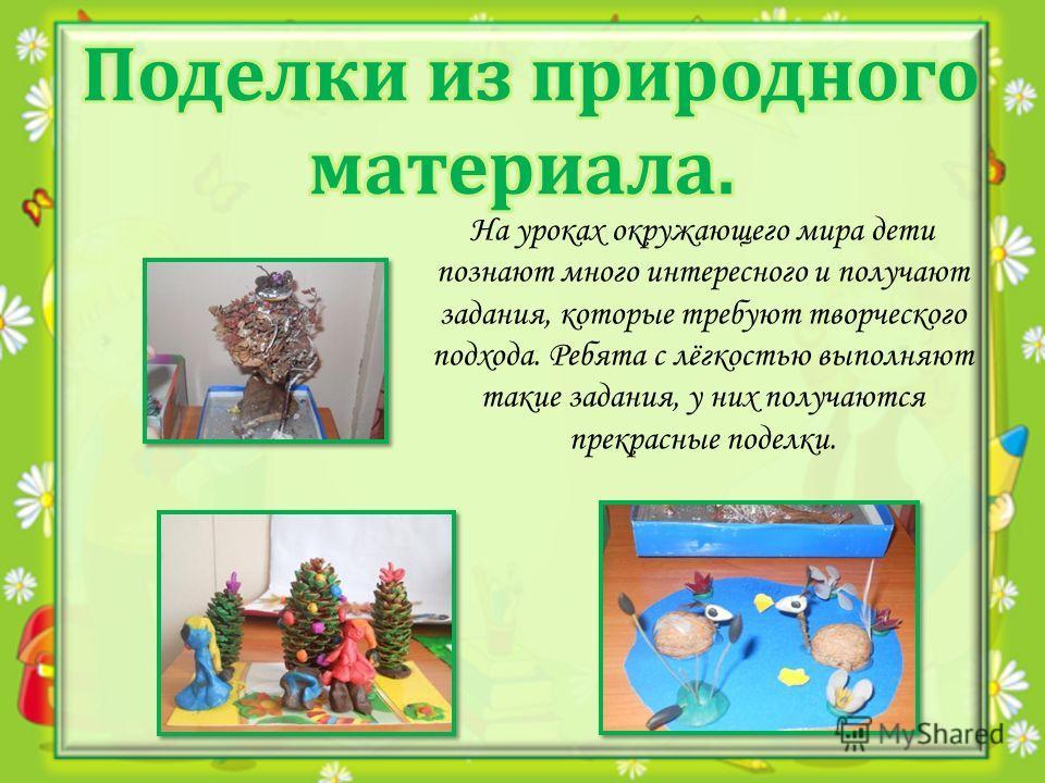 На уроках окружающего мира дети познают много интересного и получают задания, которые требуют творческого подхода. Ребята с лёгкостью выполняют такие задания, у них получаются прекрасные поделки.