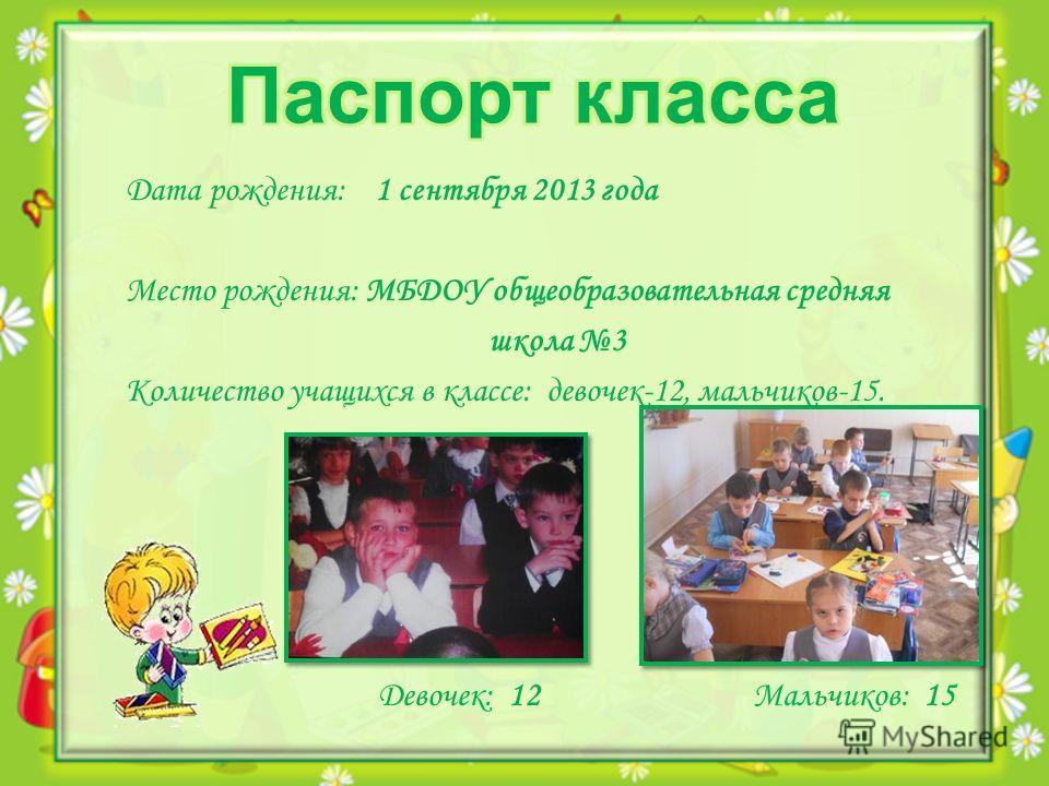 Дата рождения: 1 сентября 2013 года Место рождения: МБДОУ общеобразовательная средняя школа 3 Количество учащихся в классе: девочек-12, мальчиков-15. Девочек: 12 Мальчиков: 15