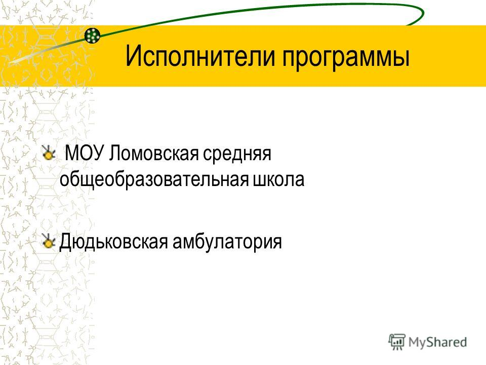 Исполнители программы МОУ Ломовская средняя общеобразовательная школа Дюдьковская амбулатория