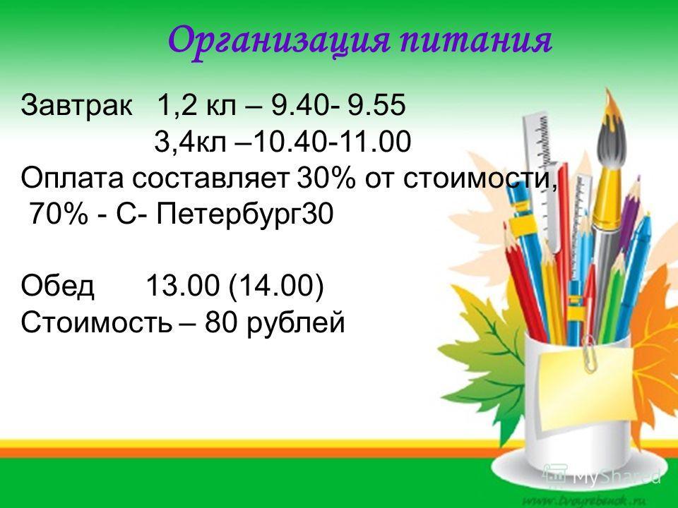 Организация питания Завтрак 1,2 кл – 9.40- 9.55 3,4 кл –10.40-11.00 Оплата составляет 30% от стоимости, 70% - С- Петербург 30 Обед 13.00 (14.00) Стоимость – 80 рублей