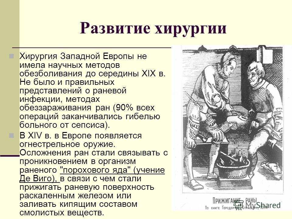 Развитие хирургии Хирургия Западной Европы не имела научных методов обезболивания до середины XIX в. Не было и правильных представлений о раневой инфекции, методах обеззараживания ран (90% всех операций заканчивались гибелью больного от сепсиса). В X
