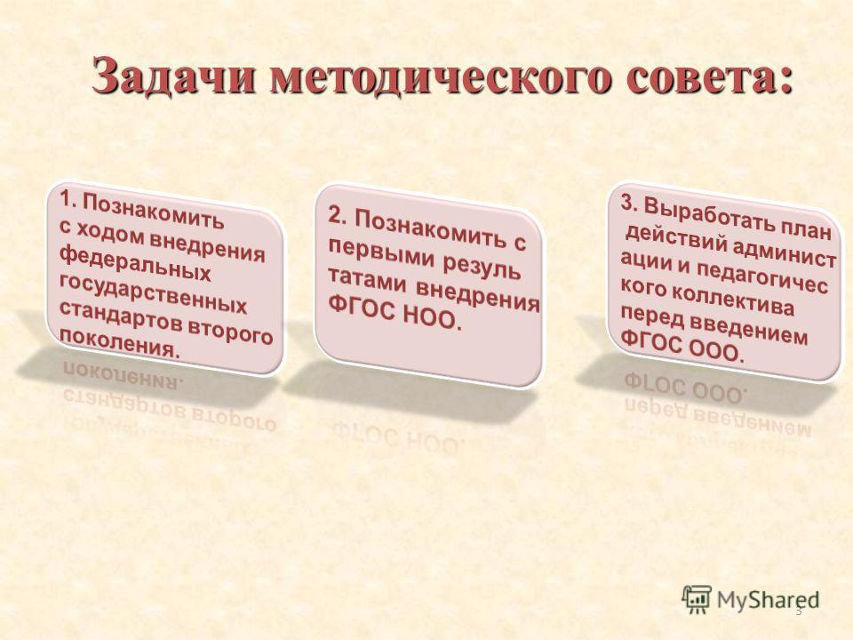 Задачи методического совета: 3