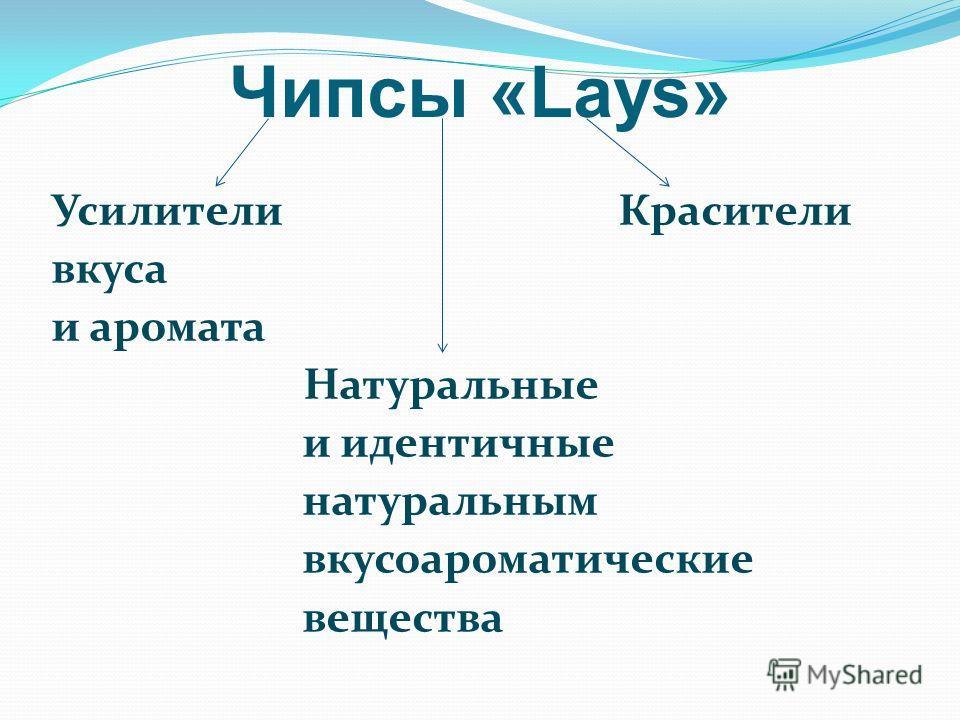 Чипсы «Lays» Усилители Красители вкуса и аромата Натуральные и идентичные натуральным вкусоароматические вещества