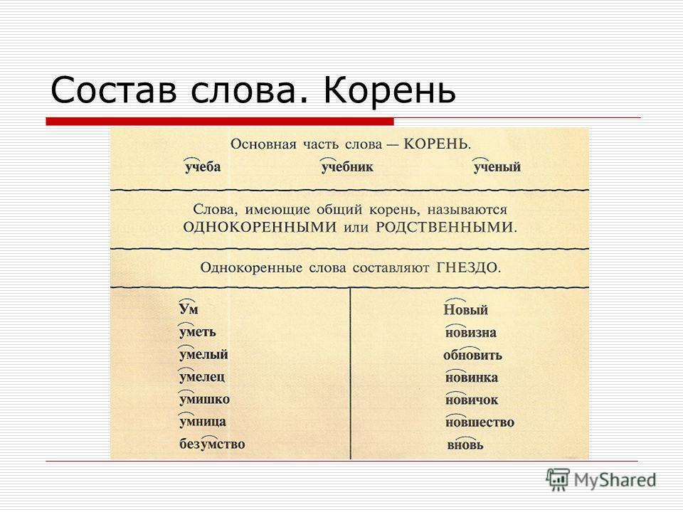 Состав слова. Корень