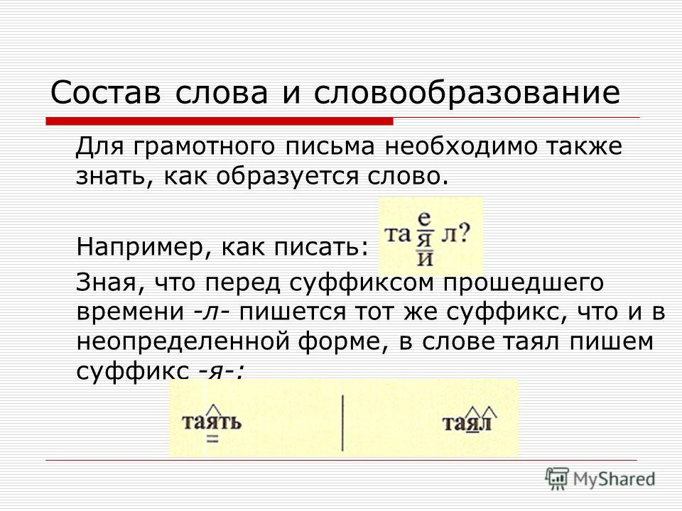 Состав слова и словообразование Для грамотного письма необходимо также знать, как образуется слово. Например, как писать: Зная, что перед суффиксом прошедшего времени -л- пишется тот же суффикс, что и в неопределенной форме, в слове таял пишем суффик