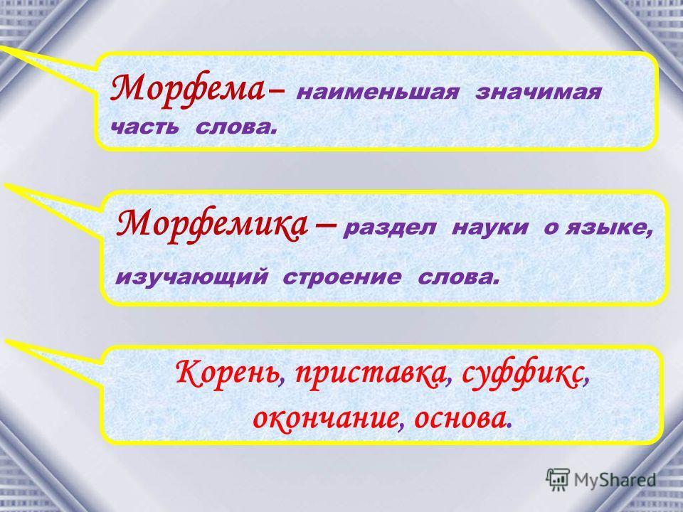 Морфема – наименьшая значимая часть слова. Морфемика – раздел науки о языке, изучающий строение слова. Корень, приставка, суффикс, окончание, основа.