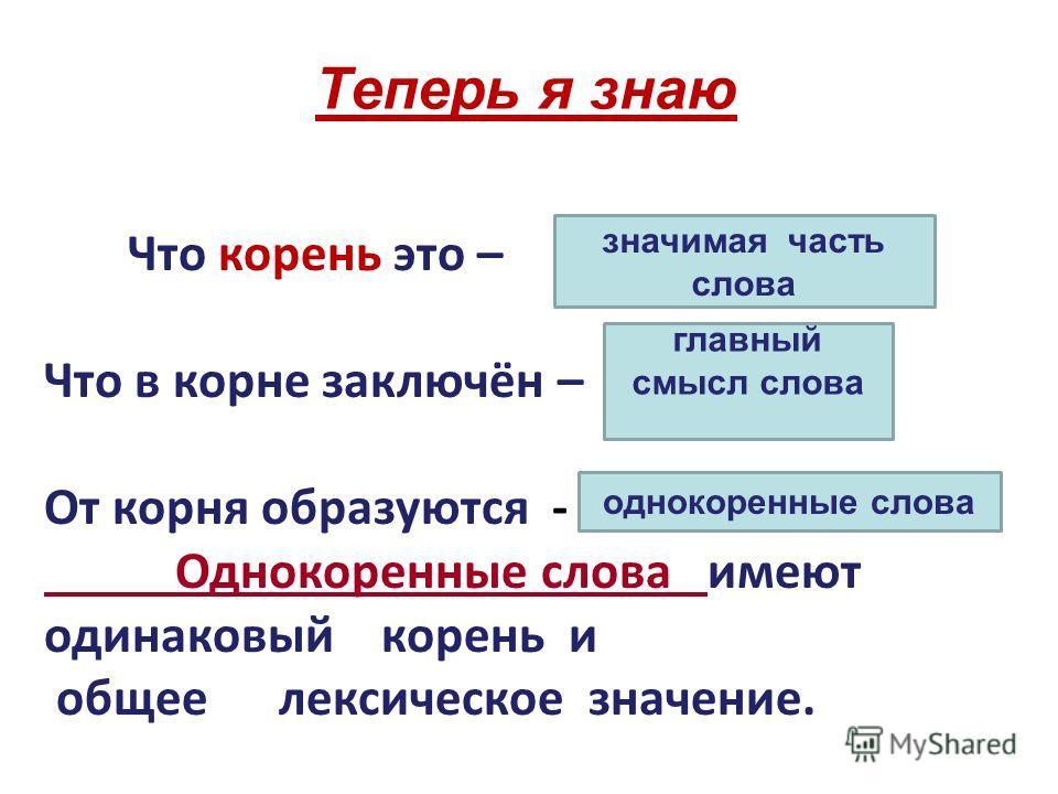 Теперь я знаю Что корень это – Что в корне заключён – От корня образуются - Однокоренные слова имеют одинаковый корень и общее лексическое значение. значимая часть слова главный смысл слова однокоренные слова