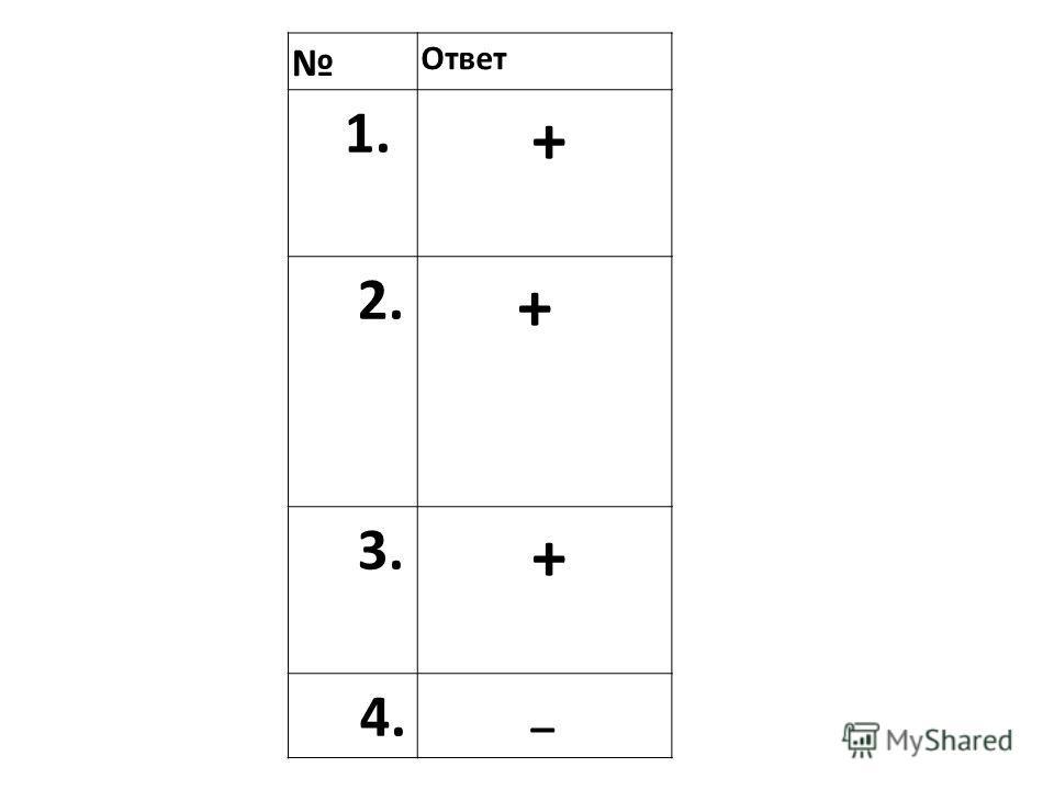 Ответ 1. + 2. + 3. + 4. _