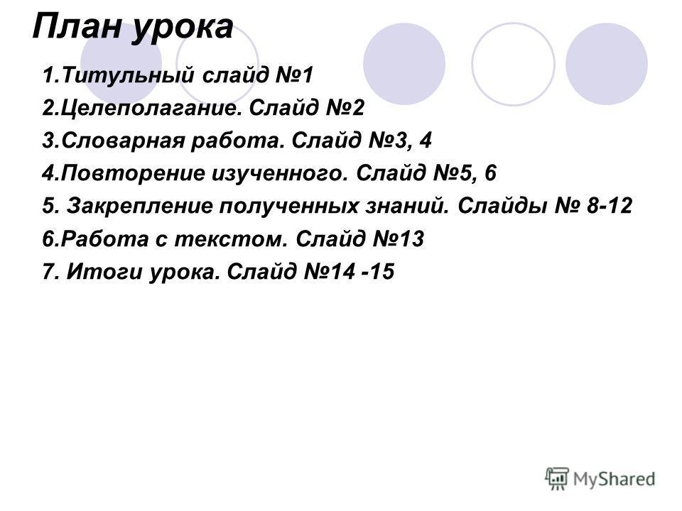 План урока 1. Титульный слайд 1 2.Целеполагание. Слайд 2 3. Словарная работа. Слайд 3, 4 4. Повторение изученного. Слайд 5, 6 5. Закрепление полученных знаний. Слайды 8-12 6. Работа с текстом. Слайд 13 7. Итоги урока. Слайд 14 -15
