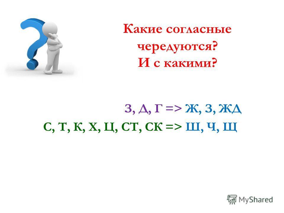 Какие согласные чередуются? И с какими? 15 З, Д, Г => Ж, З, ЖД; С, Т, К, Х, Ц, СТ, СК => Ш, Ч, Щ;